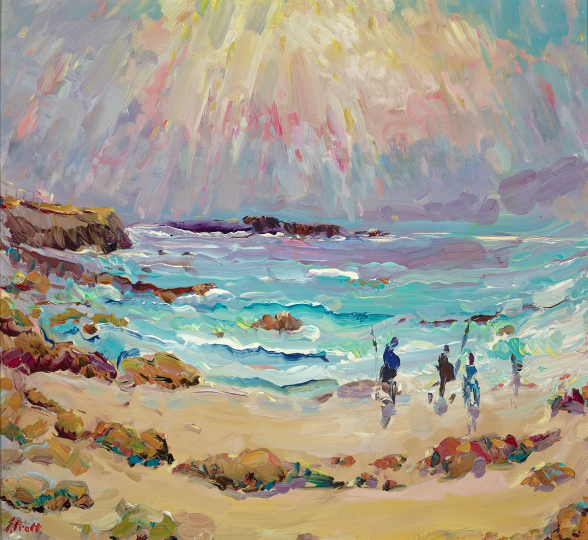 Sennen Cove, Fishing for Bass by jeffrey pratt -  sized 26x24 inches. Available from Whitewall Galleries